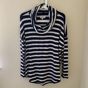 Lou & Grey Striped Cowl Neck Tunic NWT